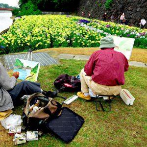 入選 「画家と菖蒲の花」 大道 昭